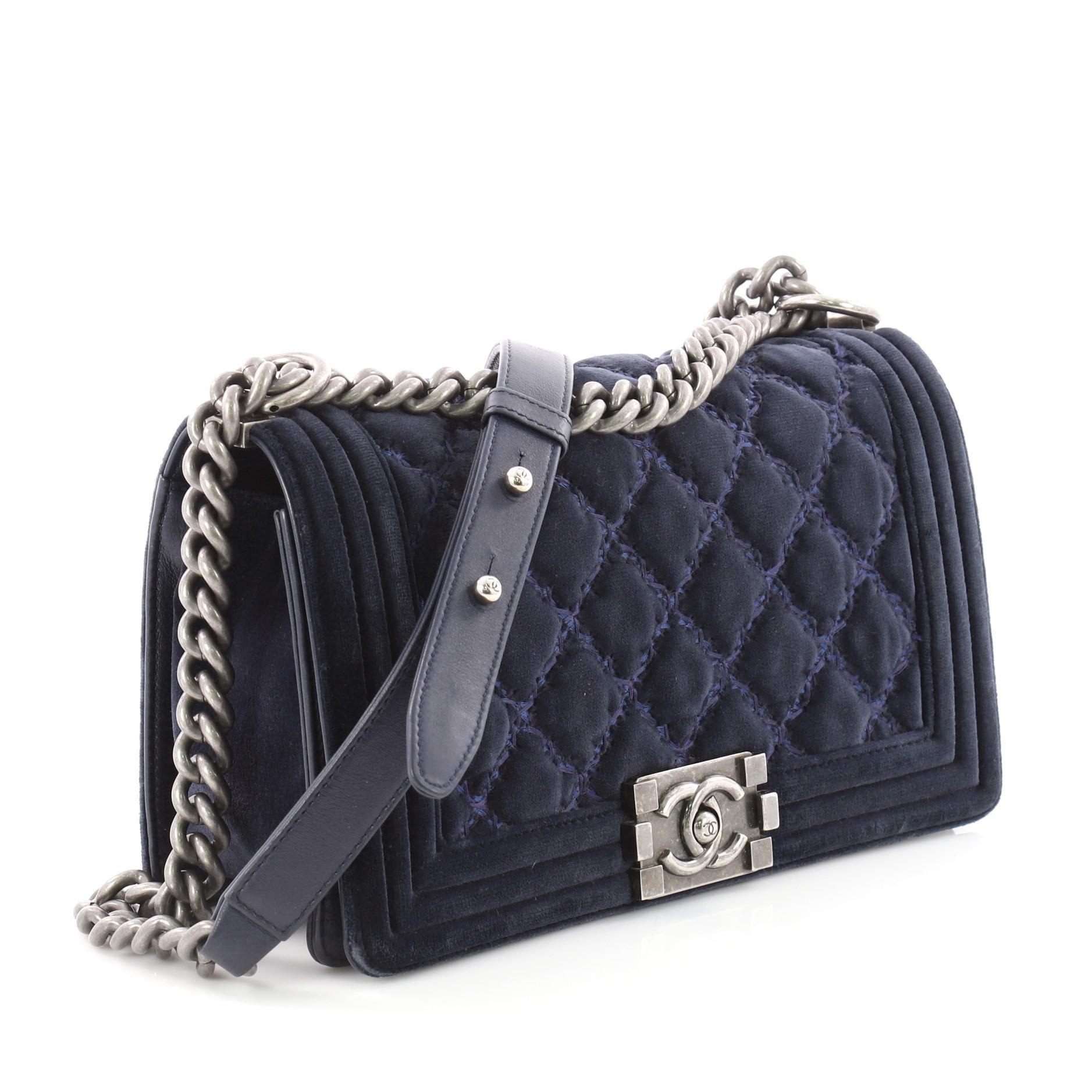 d1f6957a6e5f91 Chanel Boy Flap Bag Quilted Velvet Old Medium at 1stdibs