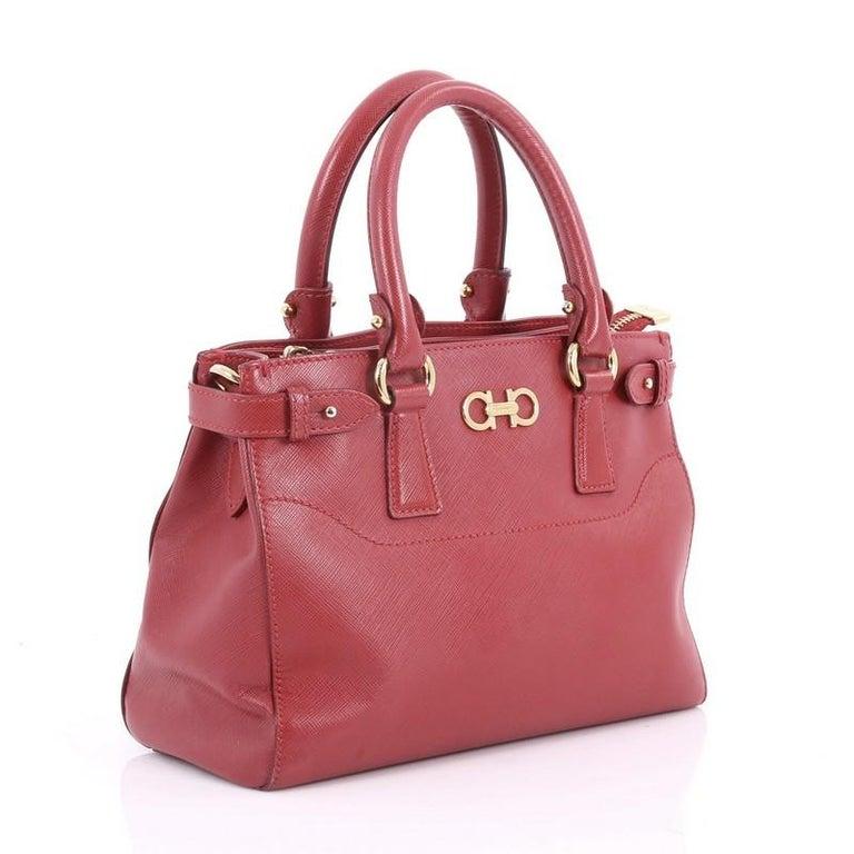 Pink Salvatore Ferragamo Batik Convertible Satchel Saffiano Leather Mini  For Sale 221e8ed1f0994