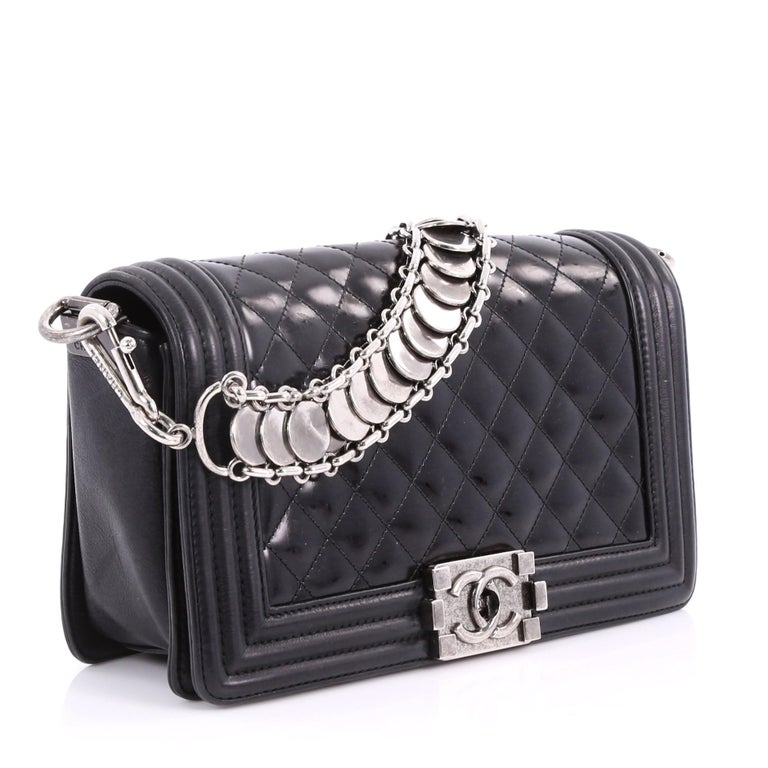 ca1f140a127c0b Black Chanel Medallion Boy Flap Bag Quilted Glazed Calfskin with Leather Old  Medium For Sale