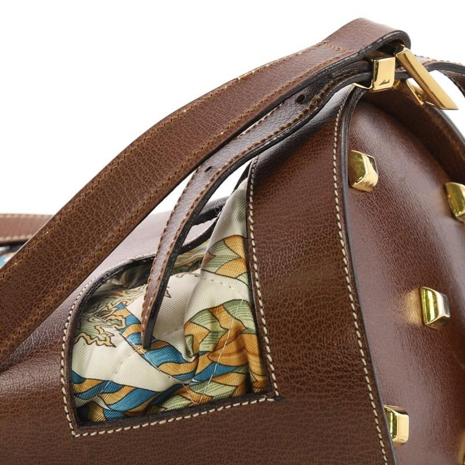 135fccbafc Salvatore Ferragamo Bucket Bag Leather and Quilted Printed Canvas Medium at  1stdibs
