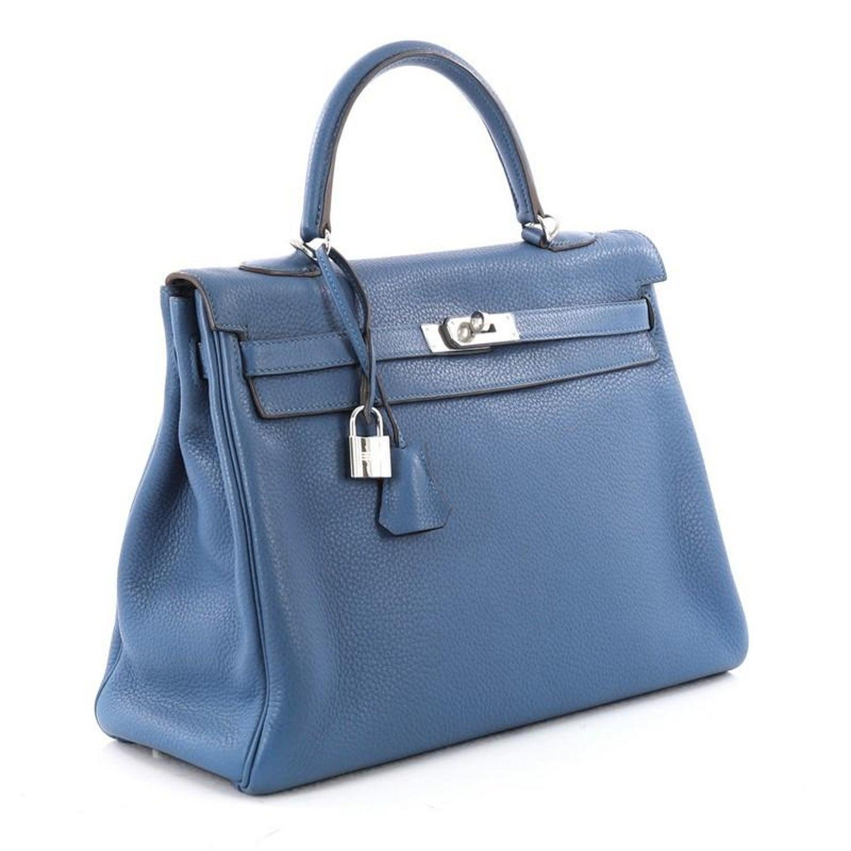 Hermes Kelly Handbag Mykonos Clemence With Palladium Hardware 35 At 1stdibs