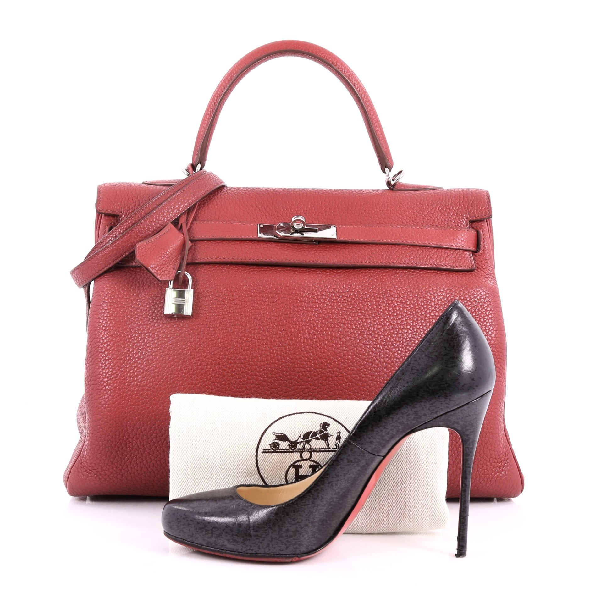 349d37840c32 Hermes Kelly Handbag Rouge Garance Clemence with Palladium Hardware 35 For  Sale at 1stdibs