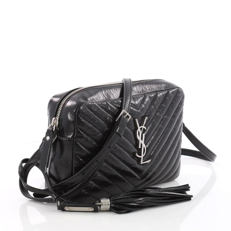 4c2b80960de87 Black Saint Laurent Lou Camera Bag Matelasse Chevron Leather Small For Sale