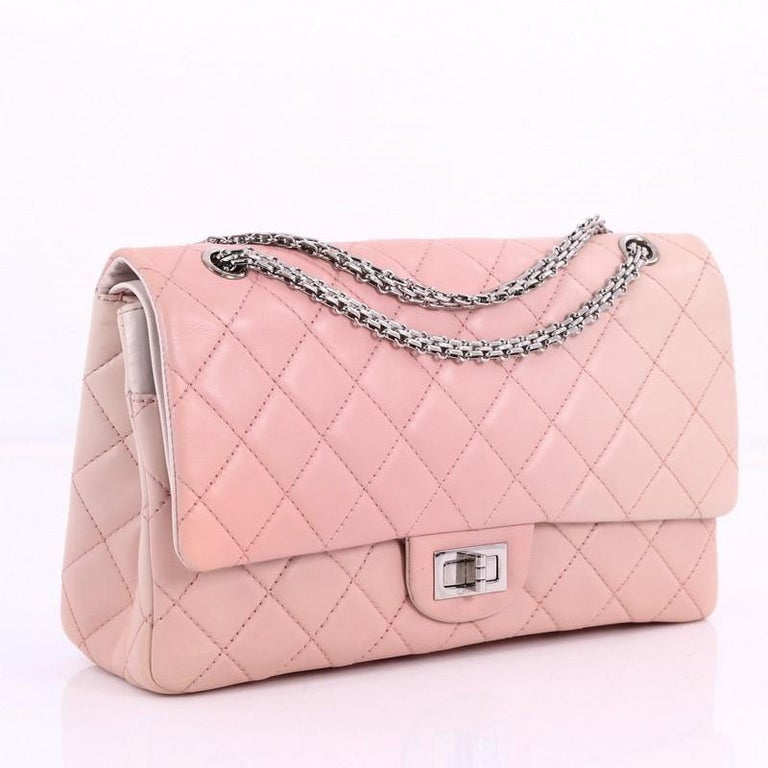 Pink Chanel Reissue 2.55 Handbag Quilted Ombre Lambskin 227 For Sale