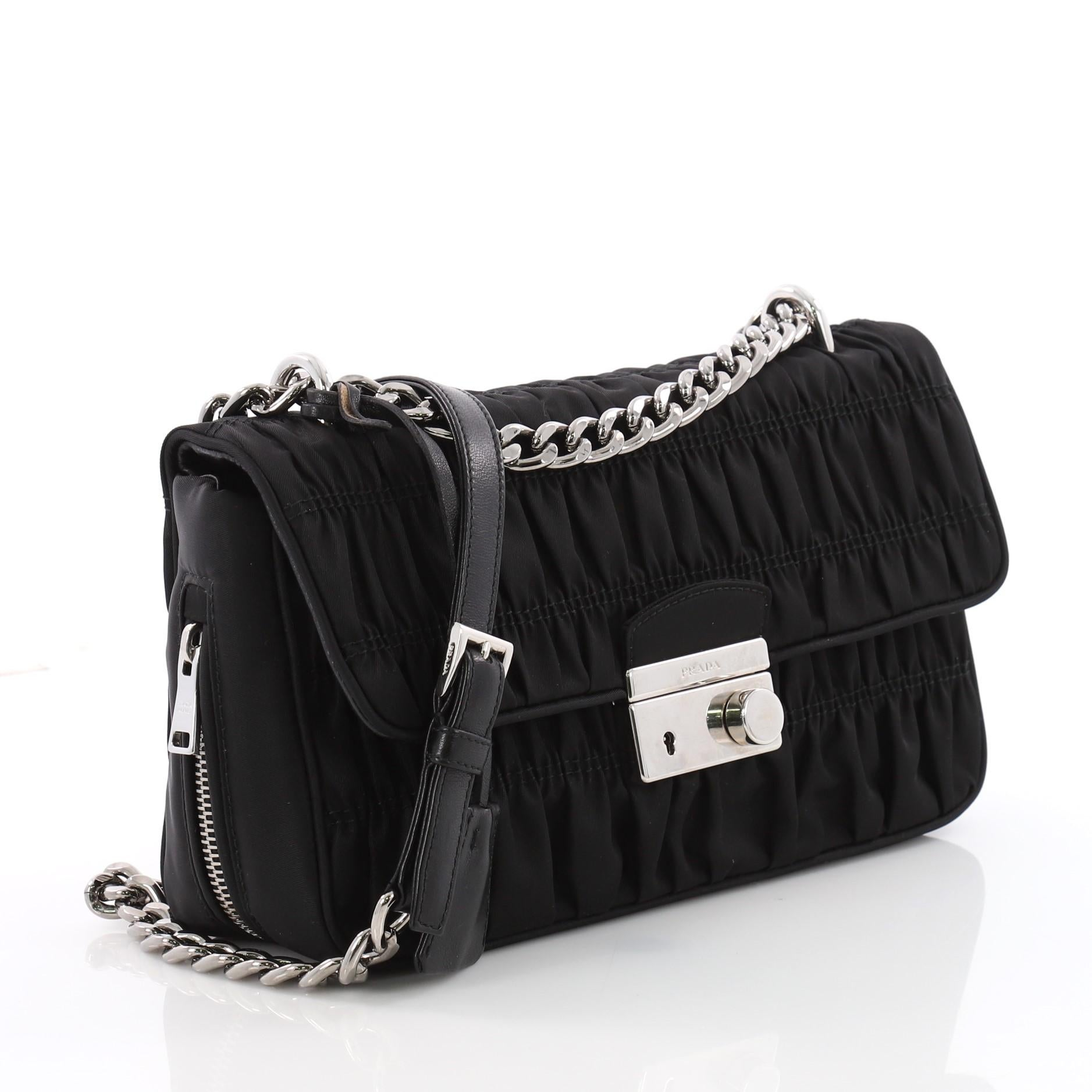 9ba30848f6f9 ... cheapest black prada sound shoulder bag tessuto gaufre small for sale  312bc af89f