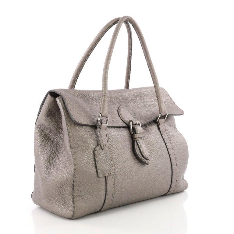 Gray Fendi Selleria Linda Satchel Pebbled Leather Large For Sale