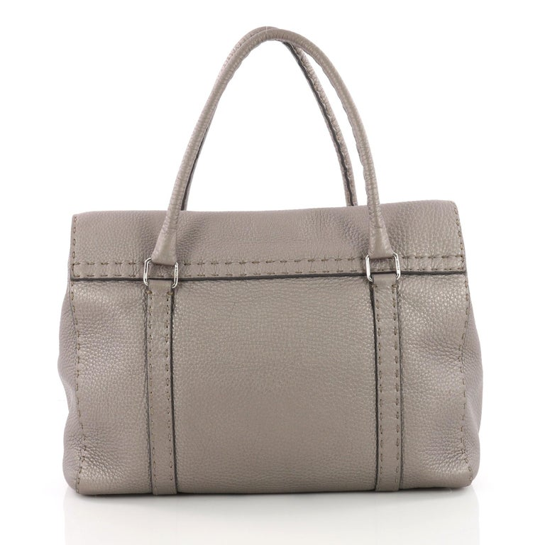 Fendi Selleria Linda Satchel Pebbled Leather Large In Good Condition For Sale In New York, NY