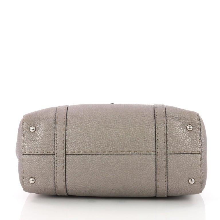 Women's Fendi Selleria Linda Satchel Pebbled Leather Large For Sale