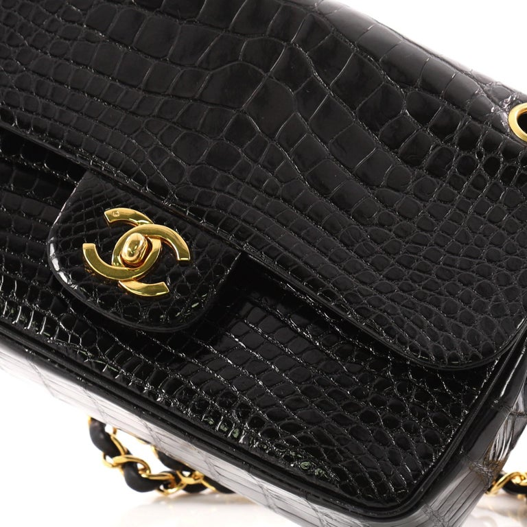 87ee2cb18e8ed2 Chanel Vintage Classic Double Flap Bag Alligator Small For Sale 3