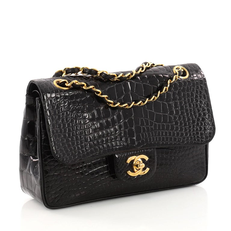 80a147a6ab7a24 Black Chanel Vintage Classic Double Flap Bag Alligator Small For Sale