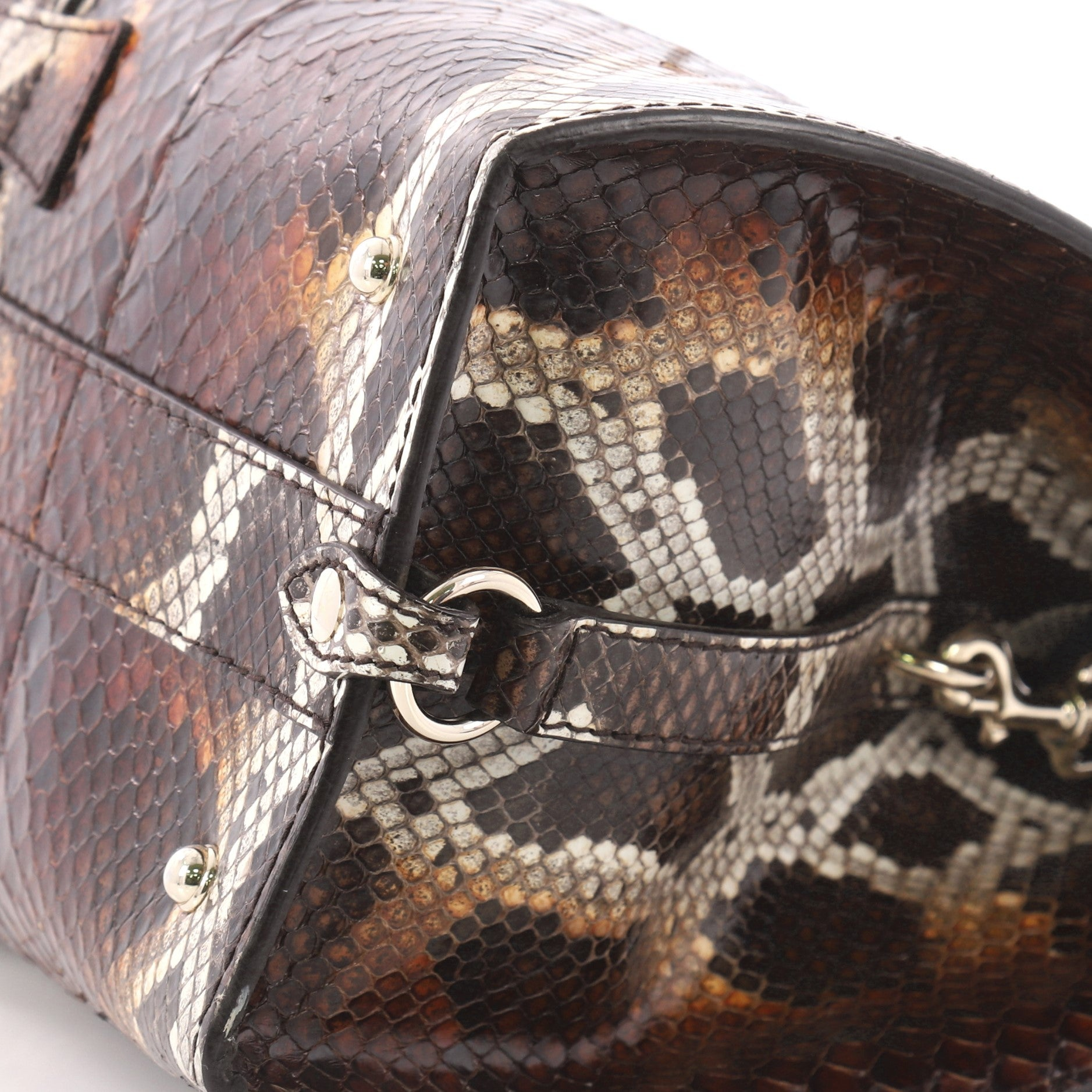 69b439801da Gucci Stirrup Top Handle Bag Python Large at 1stdibs