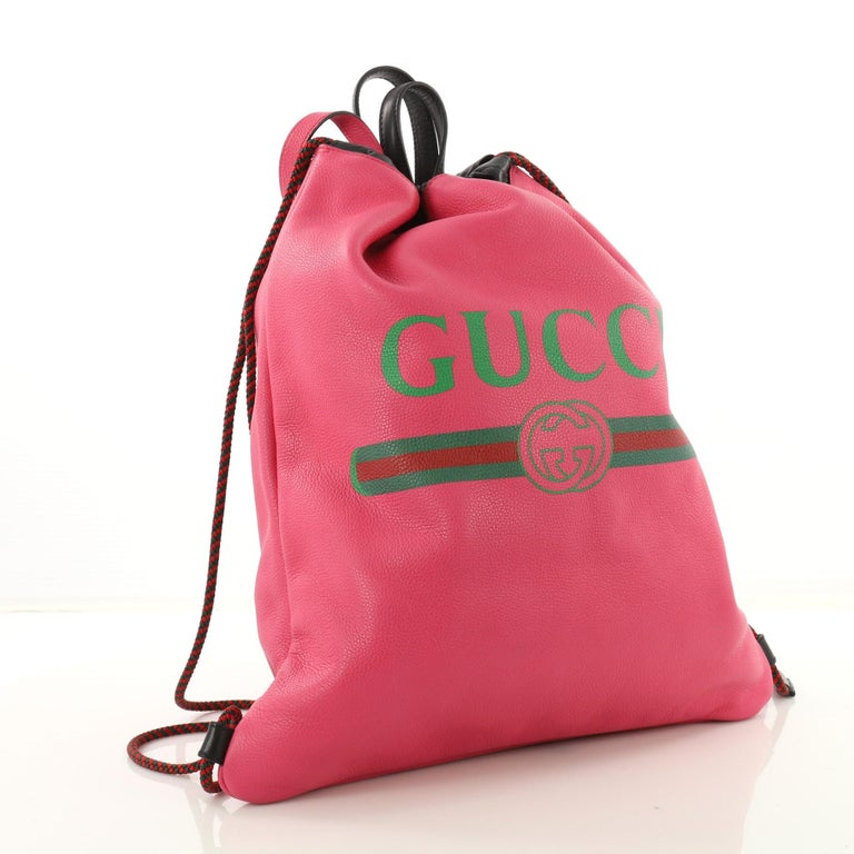 9d60fd7be0759b Pink Gucci Logo Drawstring Backpack Printed Leather Large For Sale