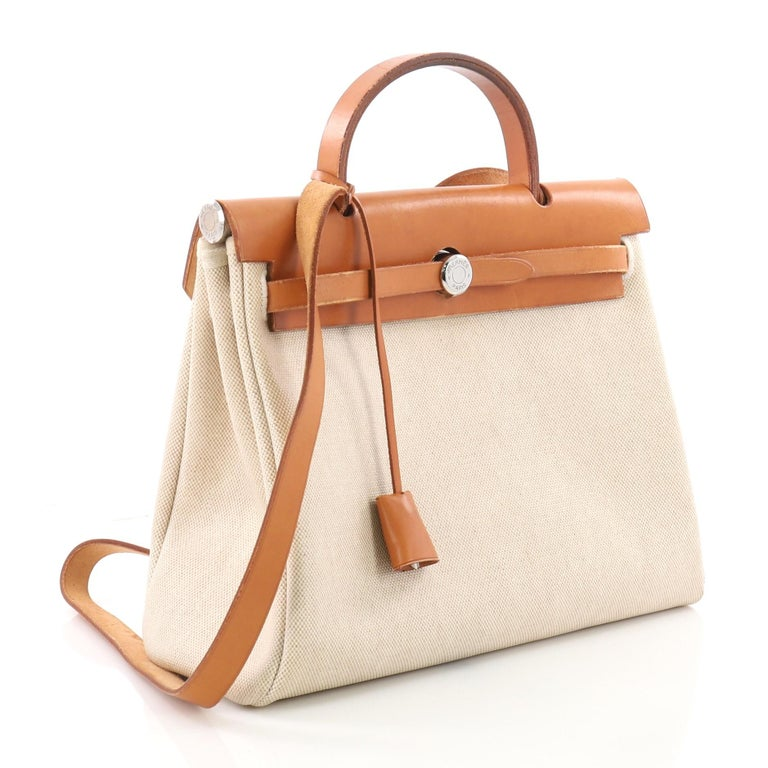 e784f0fb121d4 Beige Hermes Herbag Toile and Leather PM For Sale