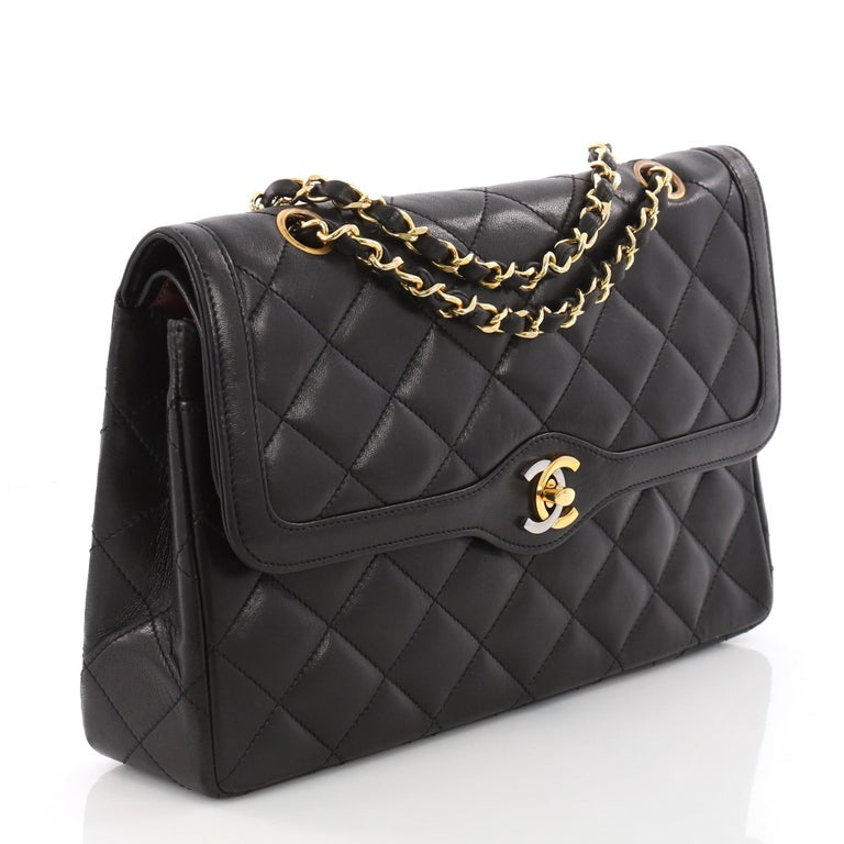 08742e05ca3df Black Chanel Vintage Two-Tone CC Flap Bag Quilted Lambskin Medium For Sale