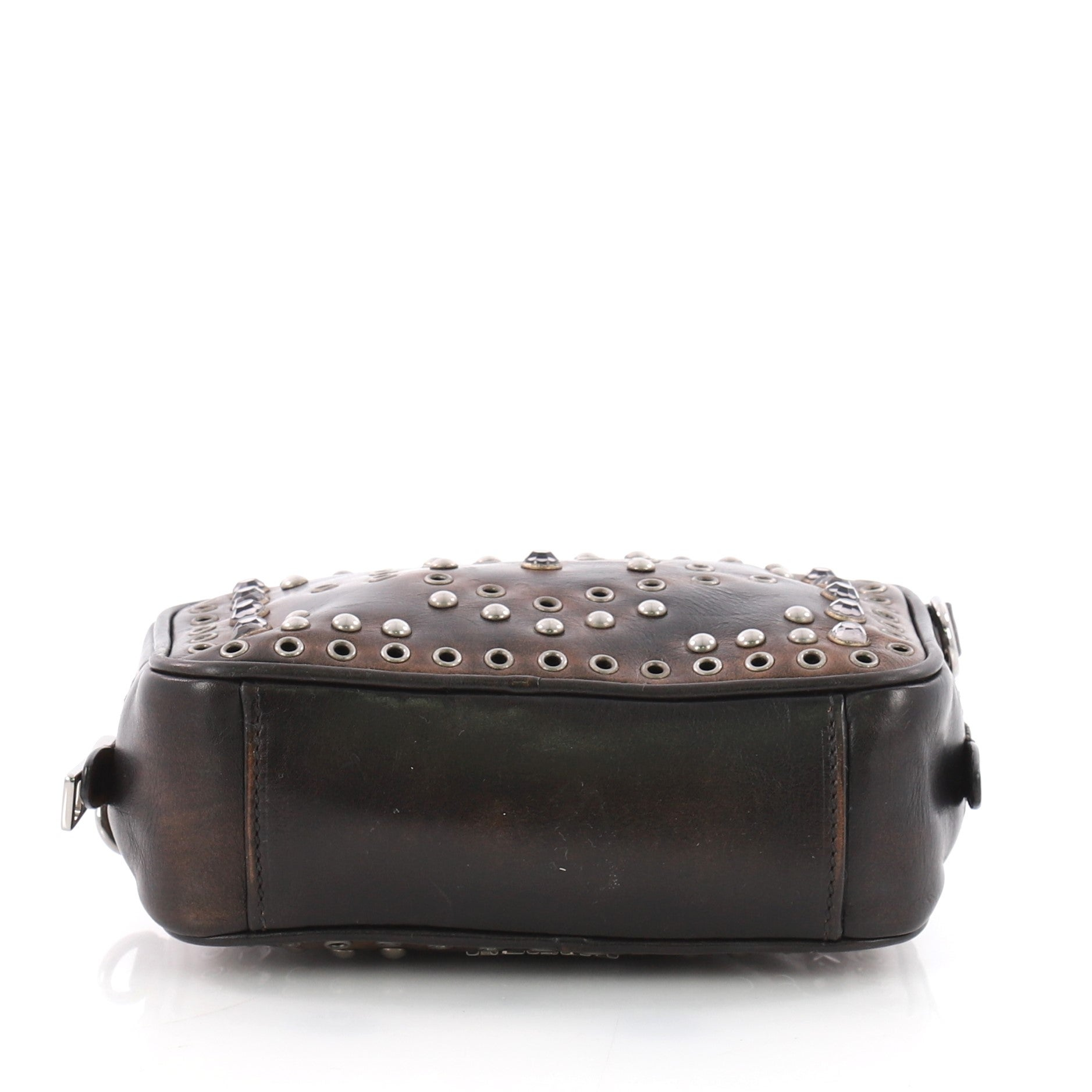 d19cd2f4a84a Prada Zip Crossbody Bag Studded Vitello Vintage Mini at 1stdibs