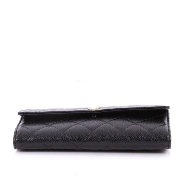 6a5b3ca1b7a4 Women's Chanel CC Gusset Flap Wallet Quilted Caviar Long For Sale