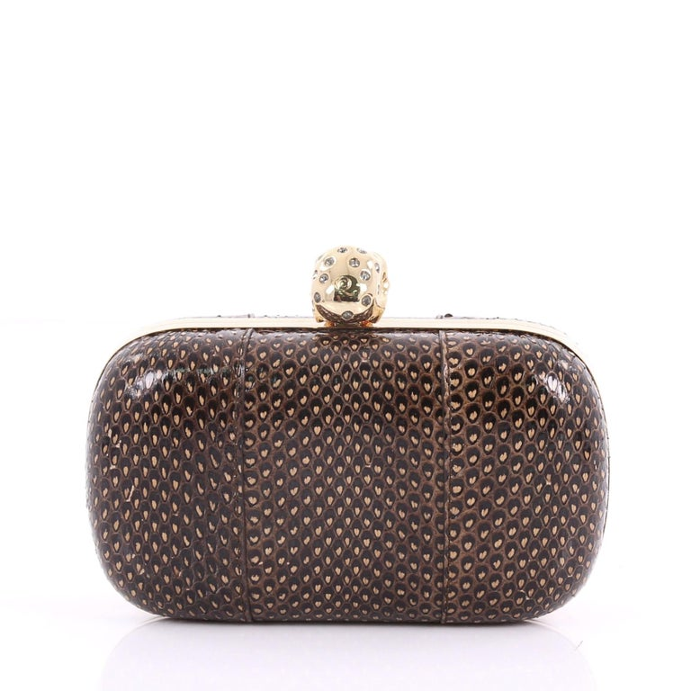 Alexander McQueen Skull Box Clutch Python Small In Good Condition For Sale In New York, NY