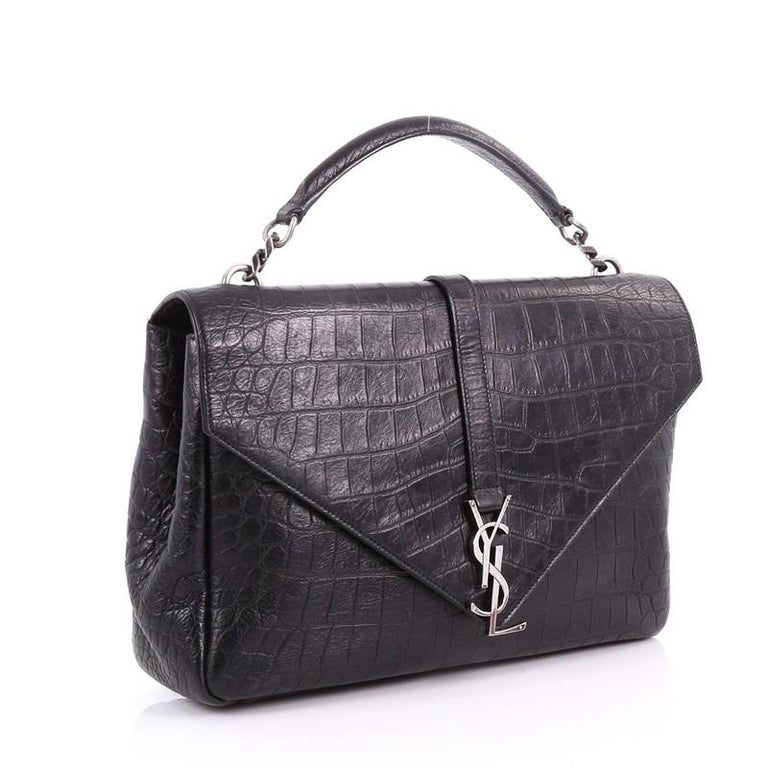 f299febffcd8 Black Saint Laurent Classic Monogram College Bag Crocodile Embossed Leather  Large For Sale