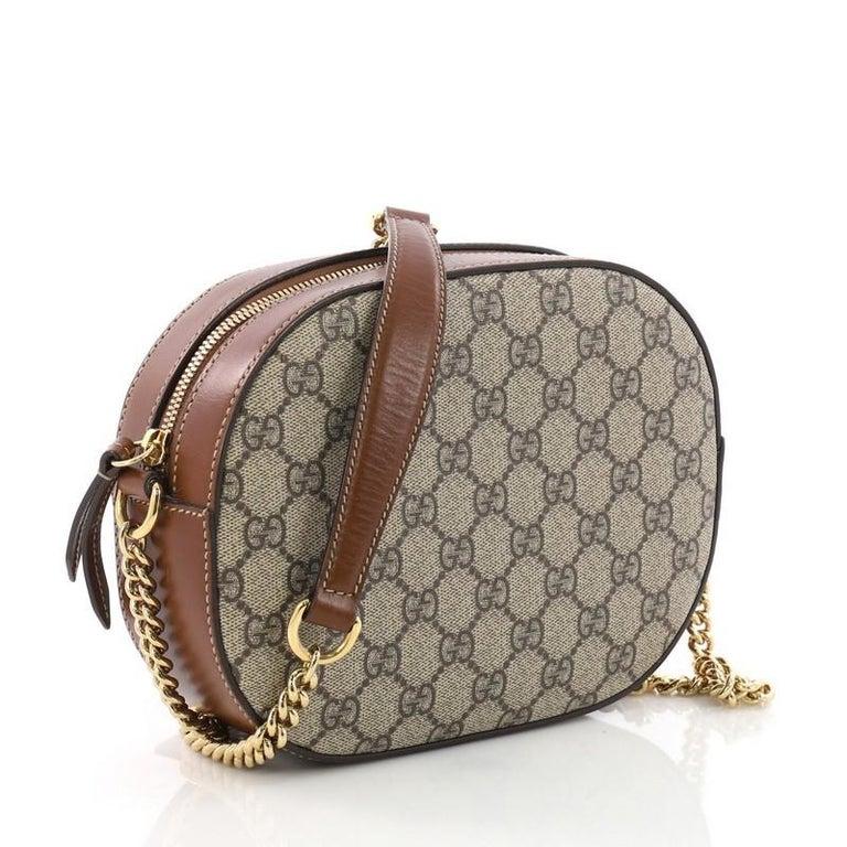 cf6207b789e Gray Gucci Chain Crossbody Bag GG Coated Canvas Mini For Sale