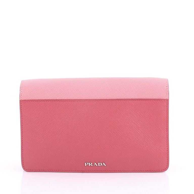 f3d7834c1359 Prada Turn Lock Wallet Crossbody Saffiano Leather Small In Good Condition  For Sale In New York