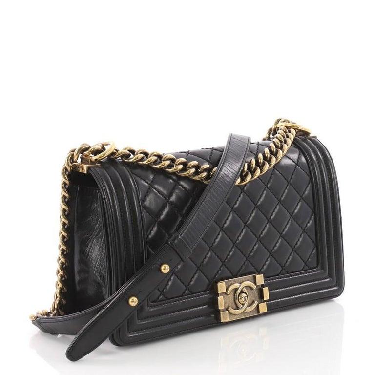ed5ea7ea8dc742 Black Chanel Boy Flap Bag Quilted Glazed Calfskin Old Medium For Sale