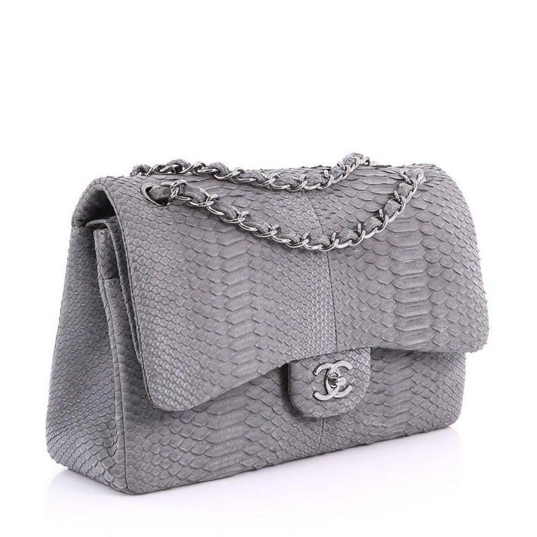 3ed145c9b337 Gray Chanel Classic Double Flap Bag Matte Python Jumbo For Sale