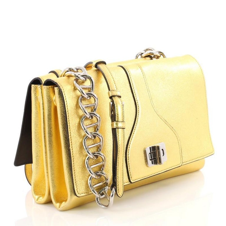412f3486fa5c Beige Prada Turnlock Flap Chain Bag Leather Small For Sale