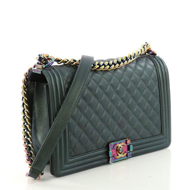 7940a278754 Chanel Boy Flap Bag Quilted Iridescent Goatskin New Medium At 1stdibs