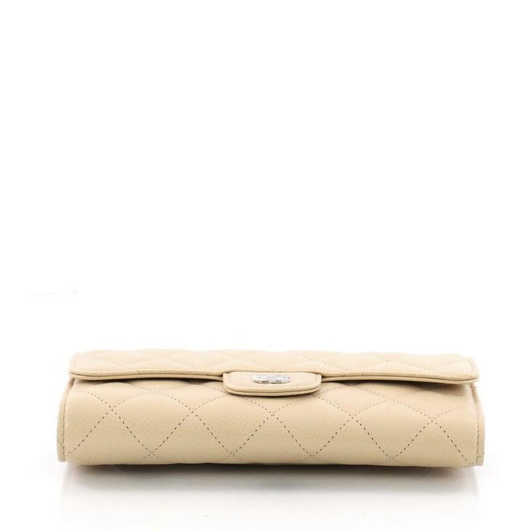 c6705e46b75a Women's Chanel CC Gusset Classic Flap Wallet Quilted Caviar Long For Sale