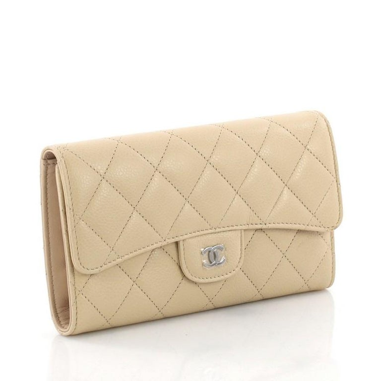 584637c62d13 Beige Chanel CC Gusset Classic Flap Wallet Quilted Caviar Long For Sale