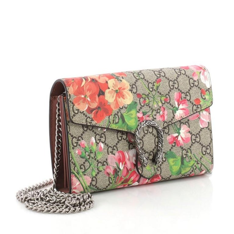 16c62beaf78 Brown Gucci Dionysus Chain Wallet Blooms Print GG Coated Canvas Small For  Sale