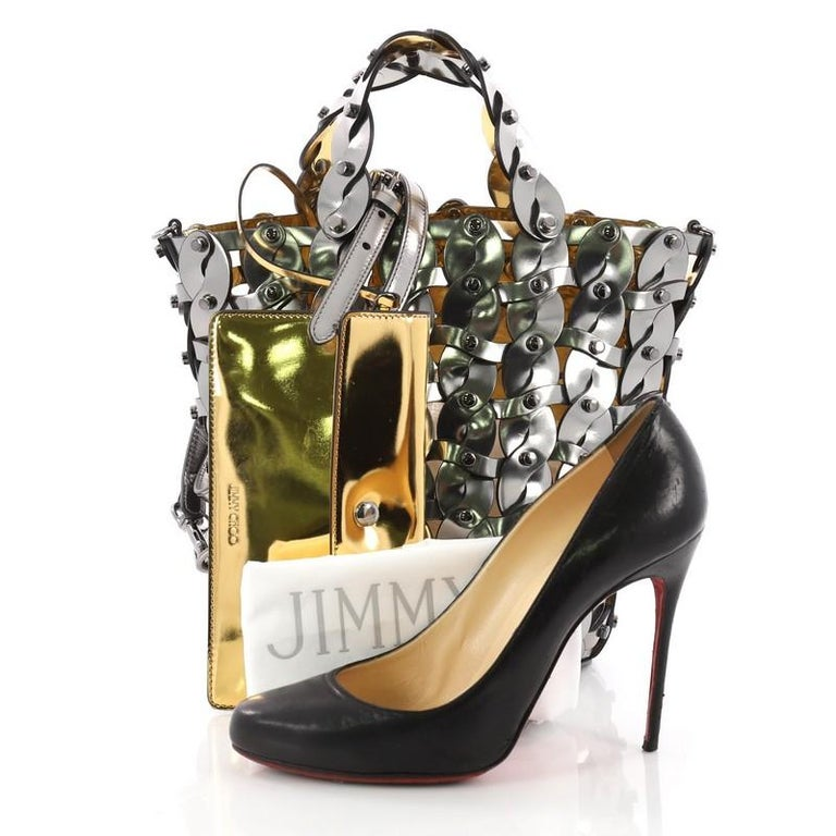 7aedc77710e Jimmy Choo Maxine Bucket Bag Studded Woven Leather Small at 1stdibs
