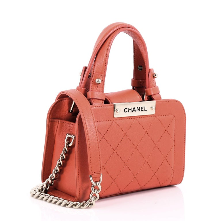 c466493856de8 Orange Chanel Label Click Shopping Tote Quilted Calfskin Mini For Sale