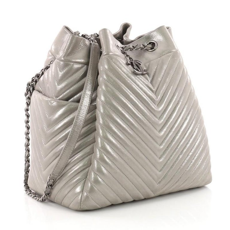 1988c4f6a6fd Gray Chanel Urban Spirit Drawstring Bag Iridescent Chevron Calfskin Large  For Sale
