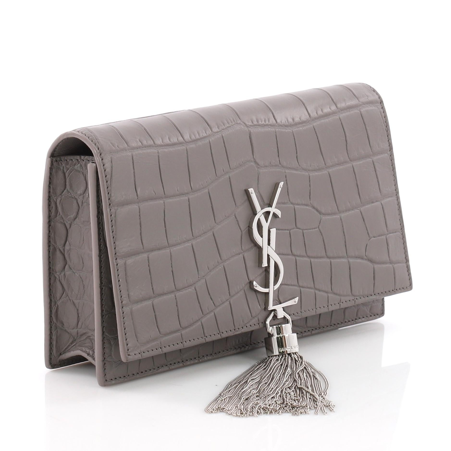 6eb43163bf Saint Laurent Classic Monogram Tassel Chain Wallet Crocodile Embossed  Leather