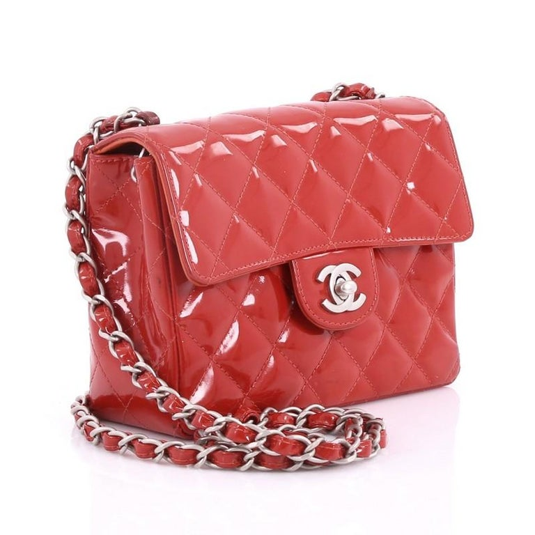 82edbf90a6e909 Red Chanel Vintage Square CC Flap Bag Quilted Patent Mini For Sale
