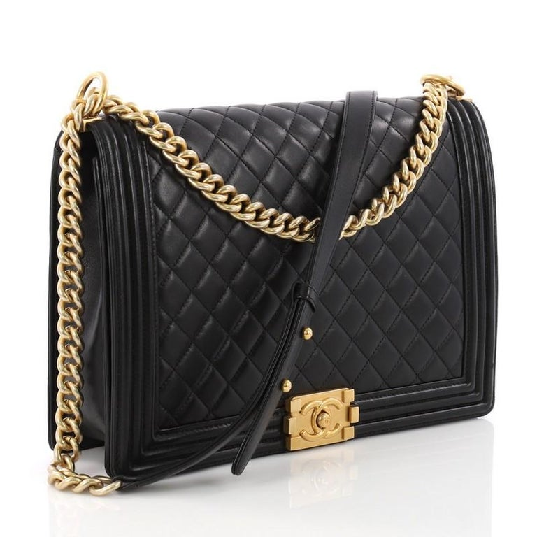 7b40df6bb8d3e0 Black Chanel Boy Flap Bag Quilted Lambskin Large For Sale