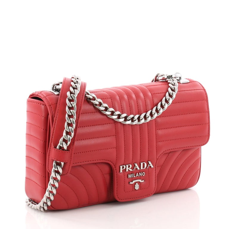 2fa350df77ca Red Prada Chain Flap Shoulder Bag Diagramme Quilted Leather Medium For Sale