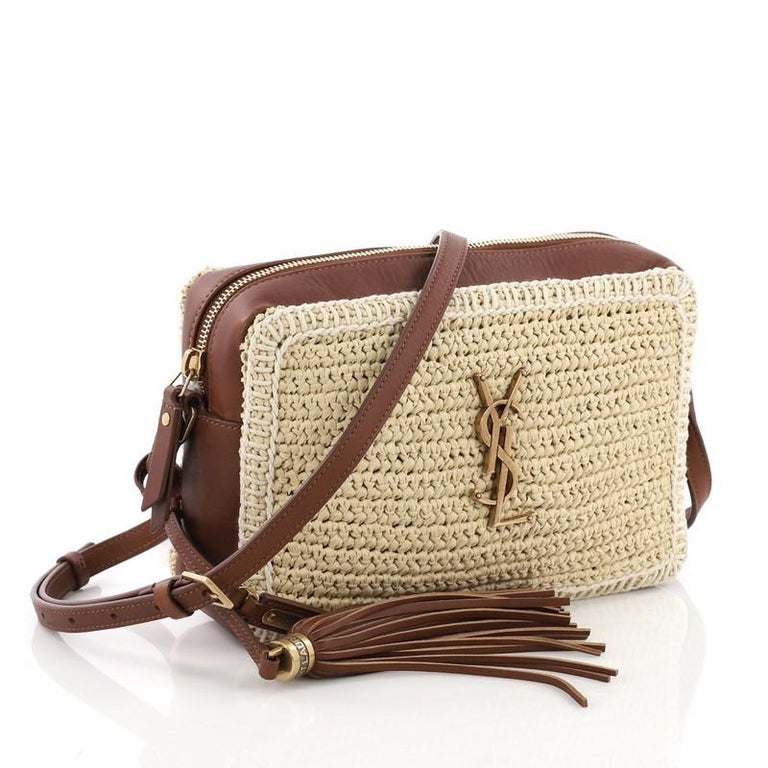 Saint Laurent Lou Camera Bag Woven Raffia Small At 1stdibs