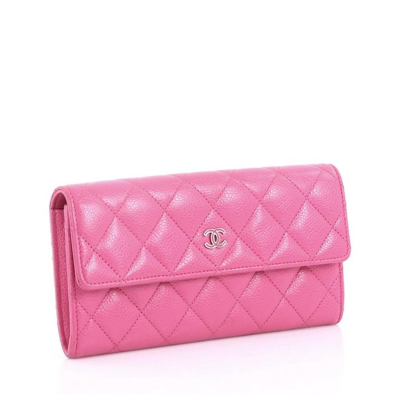 fa0da055b211 Pink Chanel CC Gusset Flap Wallet Quilted Caviar Long For Sale