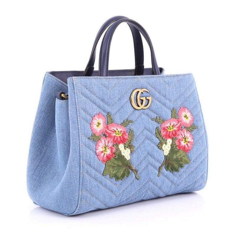 445ebe1747bc Purple Gucci GG Marmont Tote Embroidered Matelasse Denim Small For Sale