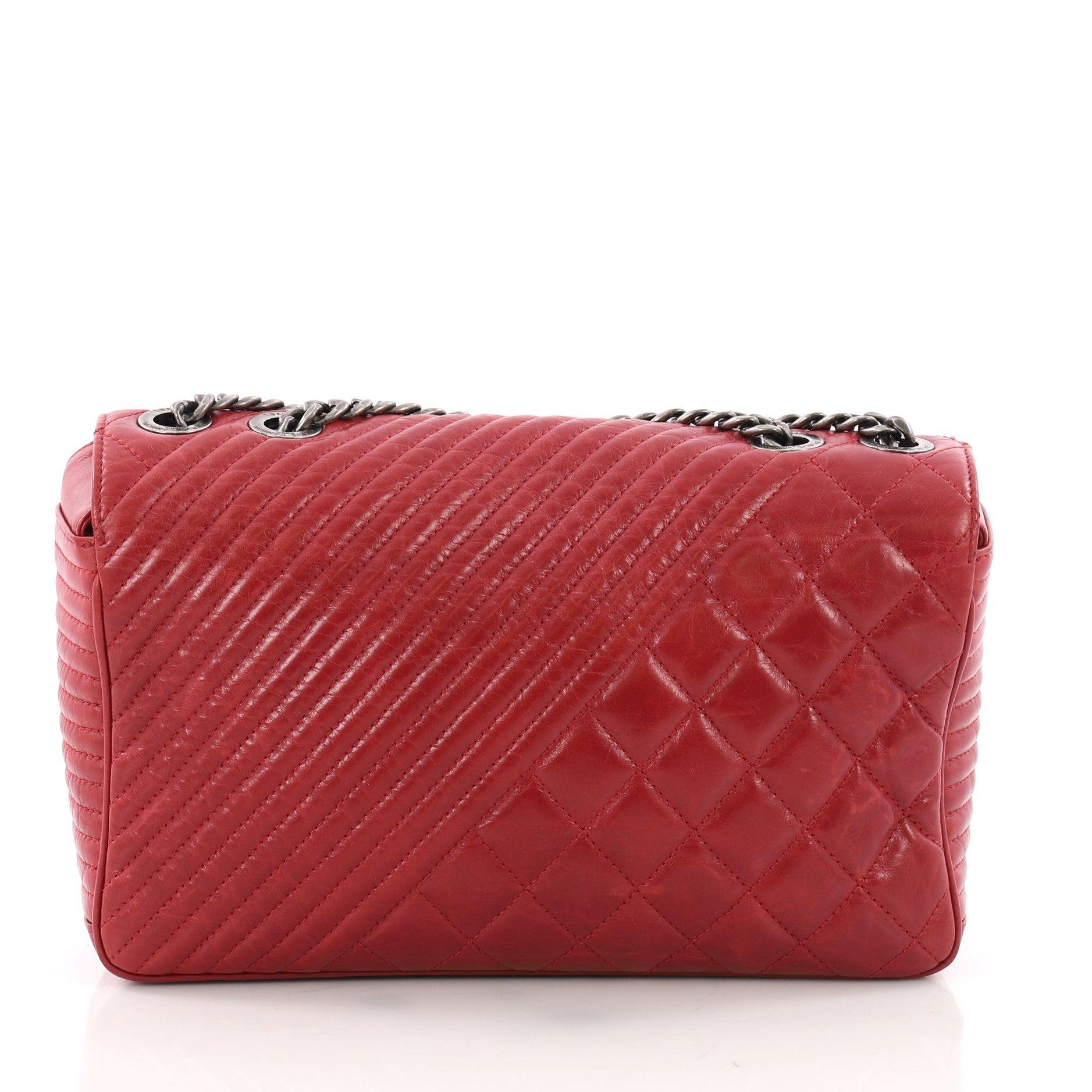 af813d9a90c36f Chanel Coco Boy Flap Bag Quilted Aged Calfskin Medium at 1stdibs