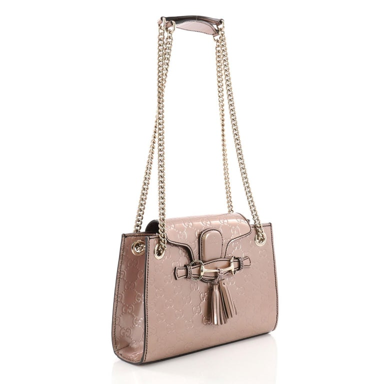 a2ea6c8201c Brown Gucci Emily Chain Flap Shoulder Bag Guccissima Patent Small For Sale