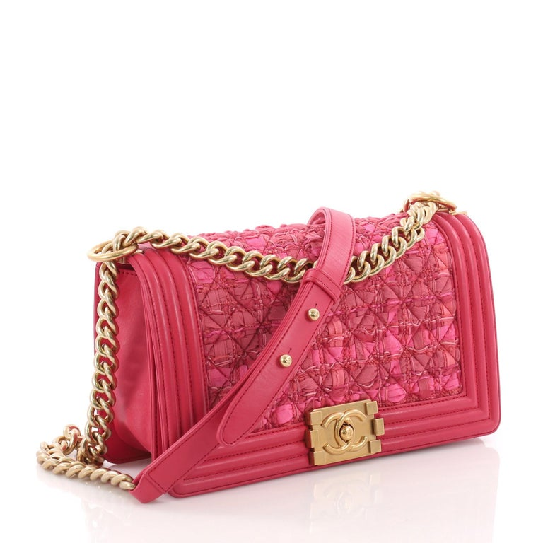 2bc13ffe8b49 Pink Chanel Boy Flap Bag Quilted Ribbon and Tweed with Leather Old Medium  For Sale