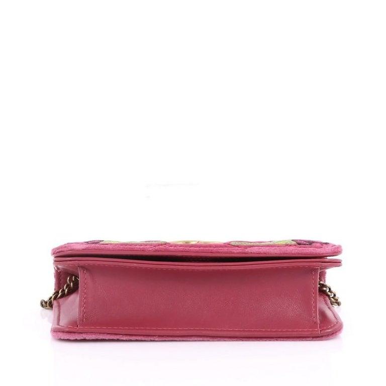 c6d854f3264 Women s or Men s Gucci GG Marmont Chain Flap Bag Embroidered Matelasse Velvet  Mini For Sale