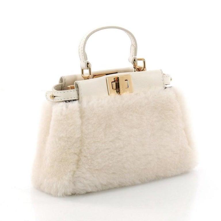 f2605f2573 Beige Fendi Peekaboo Handbag Shearling Micro For Sale