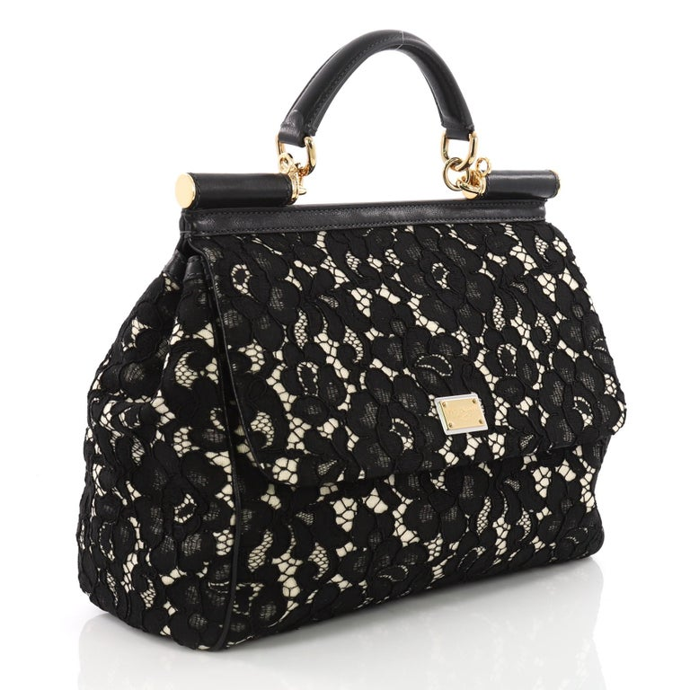 c71888aa9dce Black Dolce   Gabbana Miss Sicily Handbag Floral Lace Large For Sale