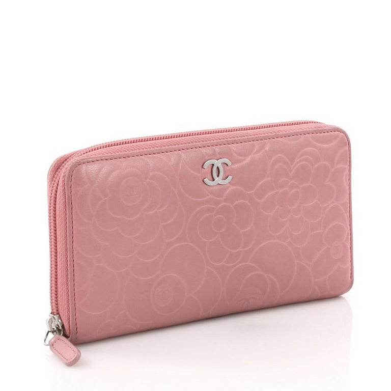 d2bf0d47 Chanel Zip Around Wallet Camellia Lambskin