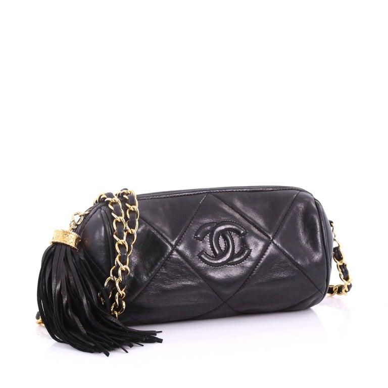 00c85c82f77b Black Chanel Vintage Diamond CC Barrel Bag Quilted Leather Mini For Sale