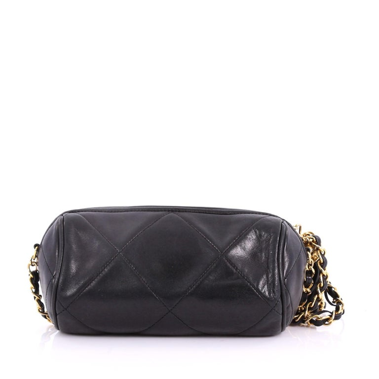 4efd3d41774b Chanel Vintage Diamond CC Barrel Bag Quilted Leather Mini In Good Condition  For Sale In New
